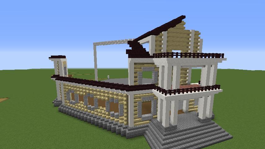 Minecrafterししゃもがマインクラフトでぷっこ村にみくに龍翔館をモデルにした村役場を建築する3