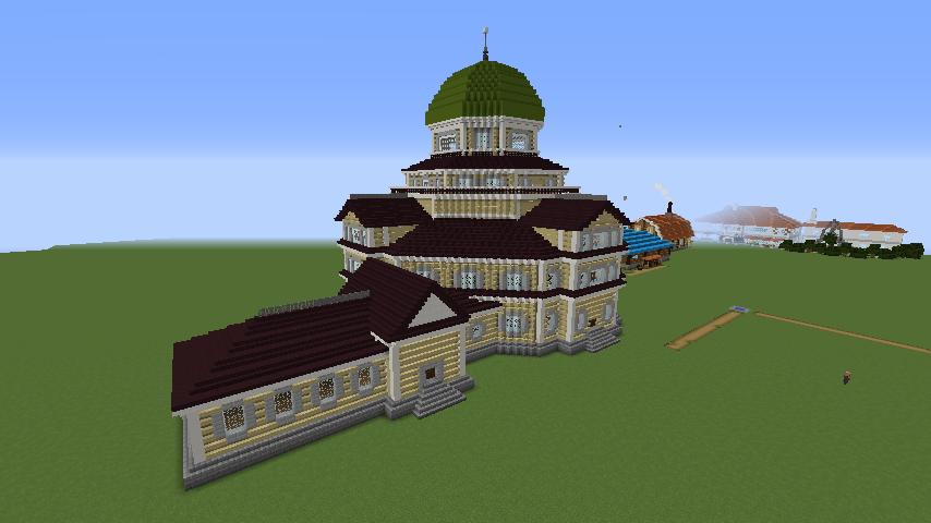 Minecrafterししゃもがマインクラフトでぷっこ村にみくに龍翔館をモデルにした村役場を建築する10