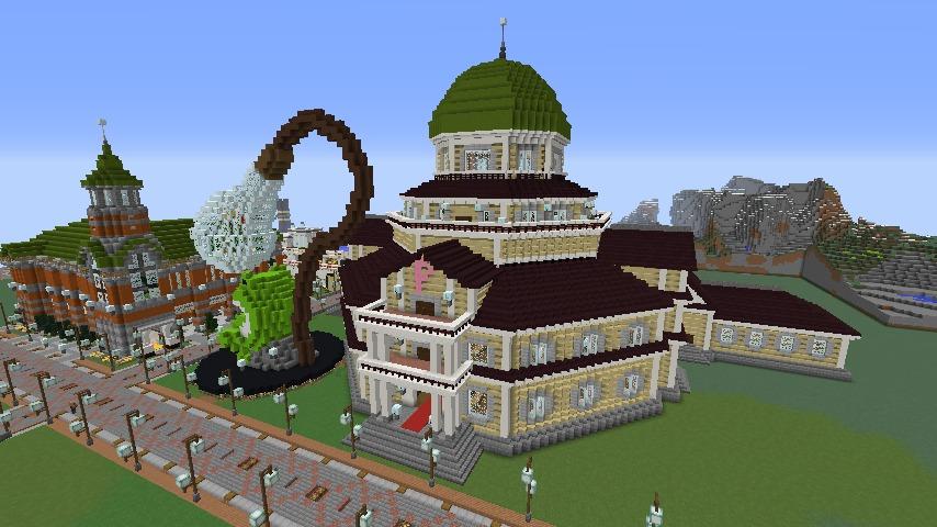 Minecrafterししゃもがマインクラフトでぷっこ村にみくに龍翔館をモデルにした村役場を建築する12