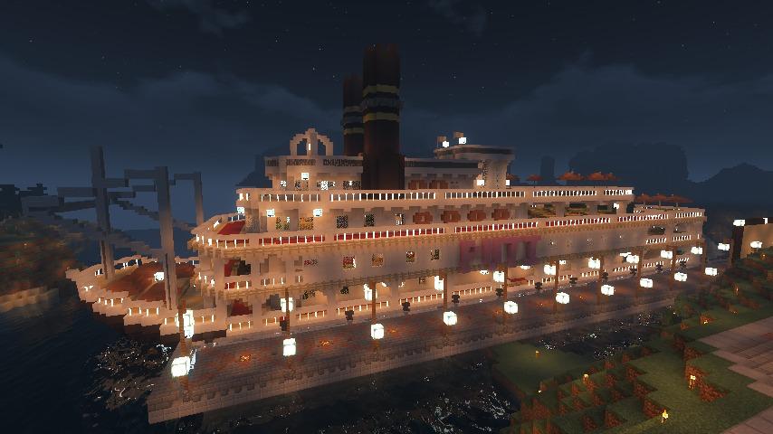 Minecrafterししゃもがマインクラフトでぷっこ村に作ったプチパールでナイトクルーズに出かけよう2