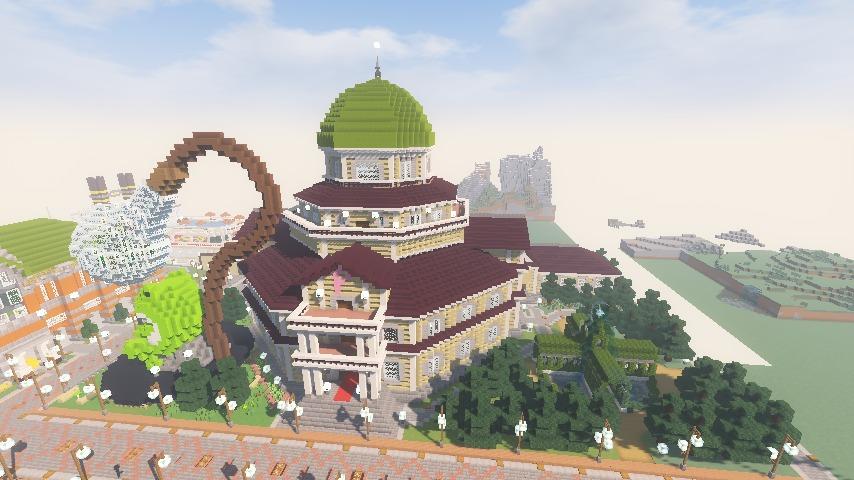 Minecrafterししゃもがマインクラフトでぷっこ村にみくに龍翔館をモデルにした村役場を建築する13