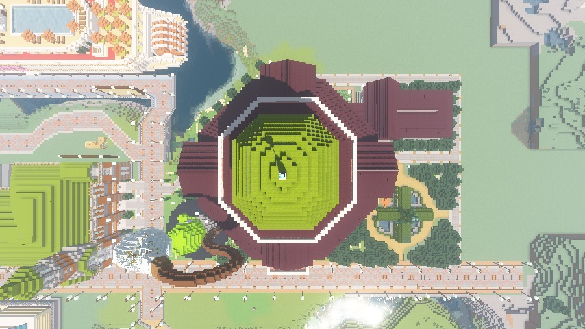 Minecrafterししゃもがマインクラフトでぷっこ村にみくに龍翔館をモデルにした役場を建築する5