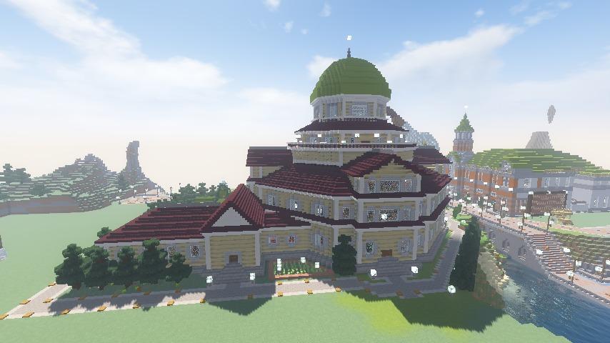 Minecrafterししゃもがマインクラフトでぷっこ村にみくに龍翔館をモデルにした役場を建築する4