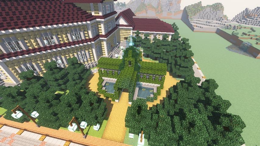 Minecrafterししゃもがマインクラフトでぷっこ村にみくに龍翔館をモデルにした役場を建築する2