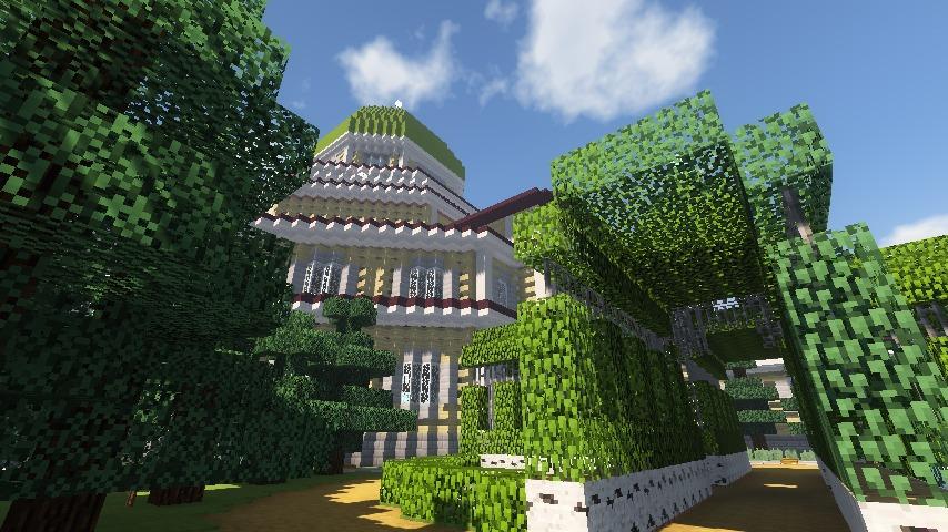 Minecrafterししゃもがマインクラフトでぷっこ村にみくに龍翔館をモデルにした役場を建築する3