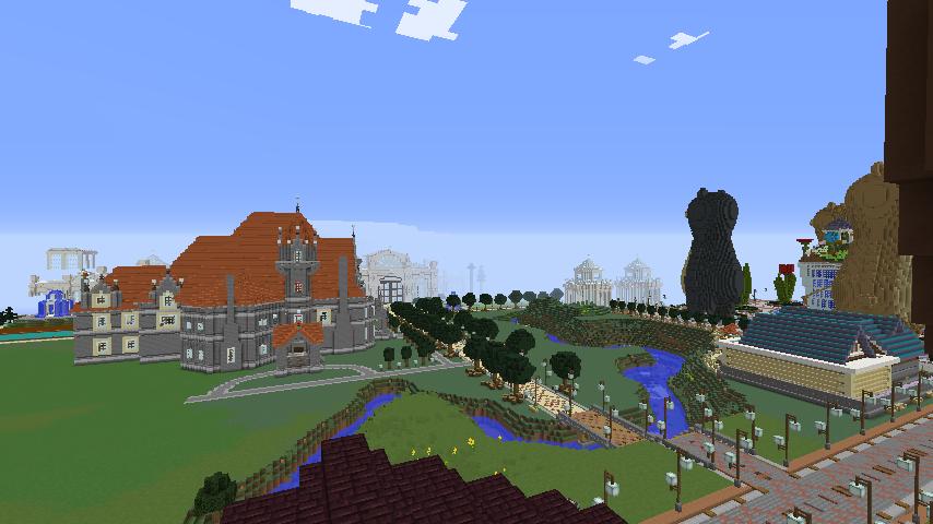 Minecrafterししゃもがマインクラフトでぷっこ村にみくに龍翔館をモデルにした役場を建築する14
