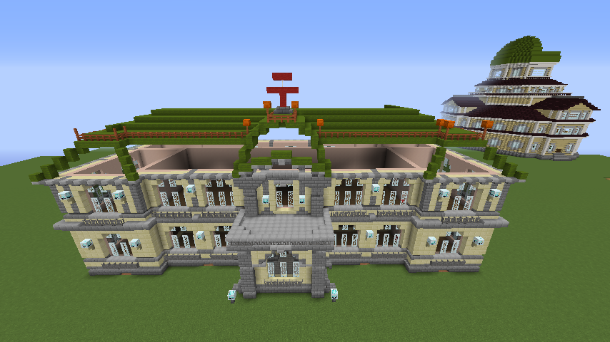Minecrafterししゃもがマインクラフトでぷっこ村に旧日本郵船株式会社小樽支店をモデルに郵便局を建築する3