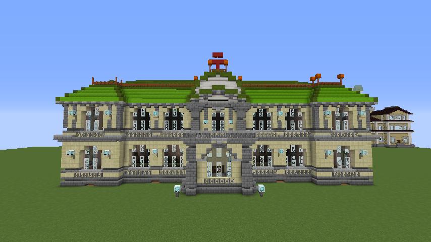 Minecrafterししゃもがマインクラフトでぷっこ村に旧日本郵船株式会社小樽支店をモデルに郵便局を建築する4