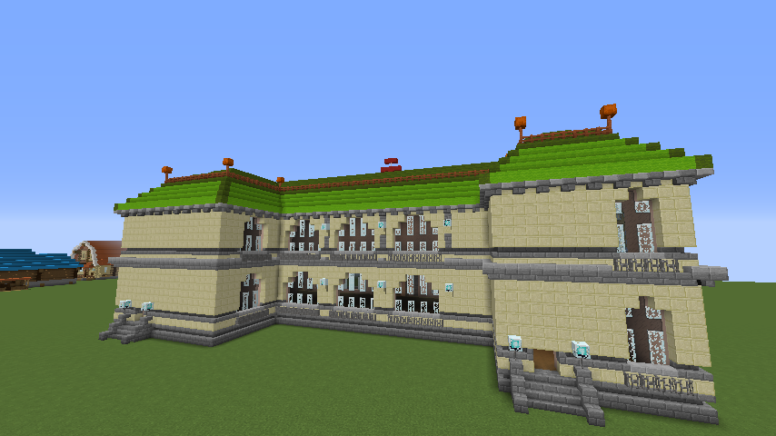 Minecrafterししゃもがマインクラフトでぷっこ村に旧日本郵船株式会社小樽支店をモデルに郵便局を建築する6