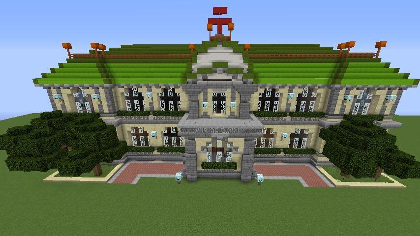 Minecrafterししゃもがマインクラフトでぷっこ村に旧日本郵船株式会社小樽支店をモデルに郵便局を建築する8