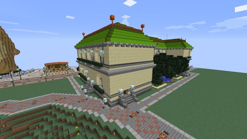 Minecrafterししゃもがマインクラフトでぷっこ村に旧日本郵船株式会社小樽支店をモデルに郵便局を建築する12