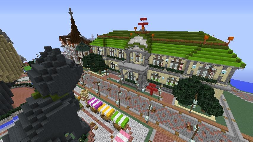 Minecrafterししゃもがマインクラフトでぷっこ村に旧日本郵船株式会社小樽支店をモデルに郵便局を建築する14