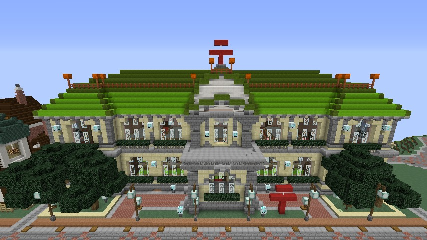 Minecrafterししゃもがマインクラフトでぷっこ村に日本郵船株式会社小樽支店をもでるにした郵便局を作る1