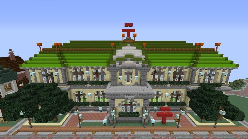 Minecrafterししゃもがマインクラフトでぷっこ村に旧日本郵船株式会社小樽支店をモデルに郵便局を建築する16