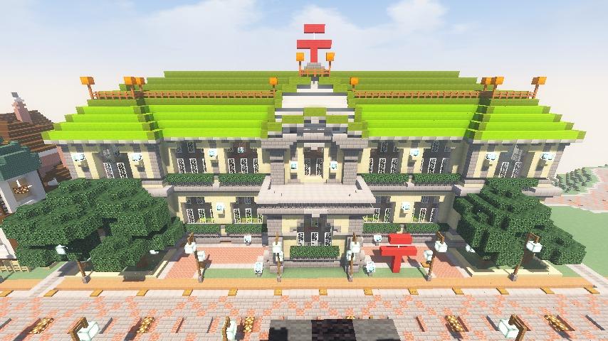 Minecrafterししゃもがマインクラフトでぷっこ村に日本郵船株式会社小樽支店をもでるにした郵便局を作る9
