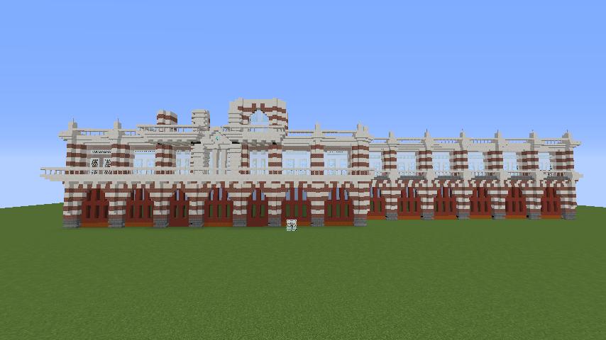 Minecrafterししゃもがマインクラフトでぷっこ村にCentral Fire Stationをモデルにした消防署を建築する4