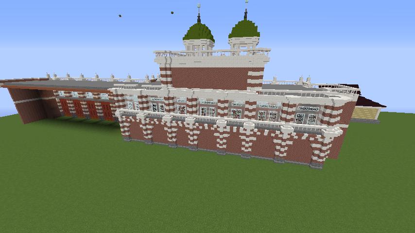 Minecrafterししゃもがマインクラフトでぷっこ村にCentral Fire Stationをモデルにした消防署を建築する6