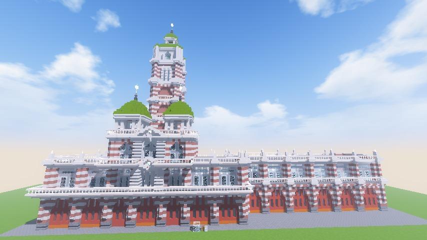 Minecrafterししゃもがマインクラフトでぷっこ村にCentral Fire Stationをモデルにした消防署を建築する