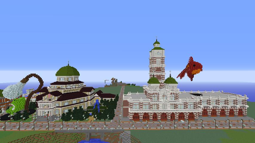 Minecrafterししゃもがマインクラフトでぷっこ村にCentral Fire Stationをモデルにした消防署を建築する15