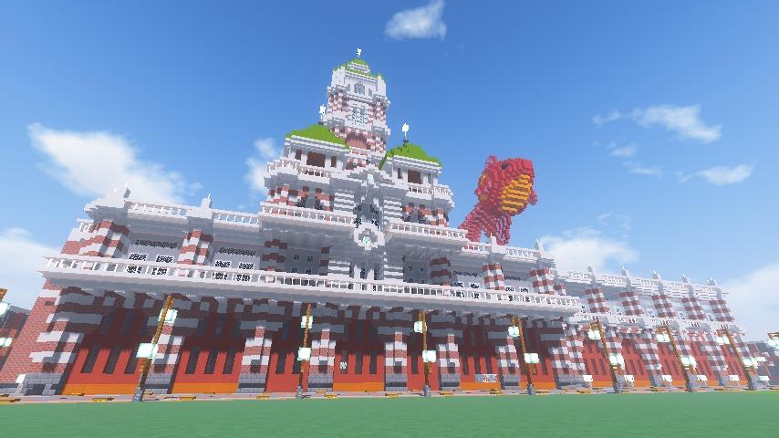 Minecrafterししゃもがマインクラフトでぷっこ村にCentral Fire Stationをモデルにした消防署を建築する18