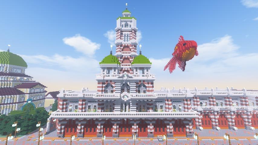 Minecrafterししゃもがマインクラフトでぷっこ村にCentral Fire Stationをモデルにした消防署を建築する1