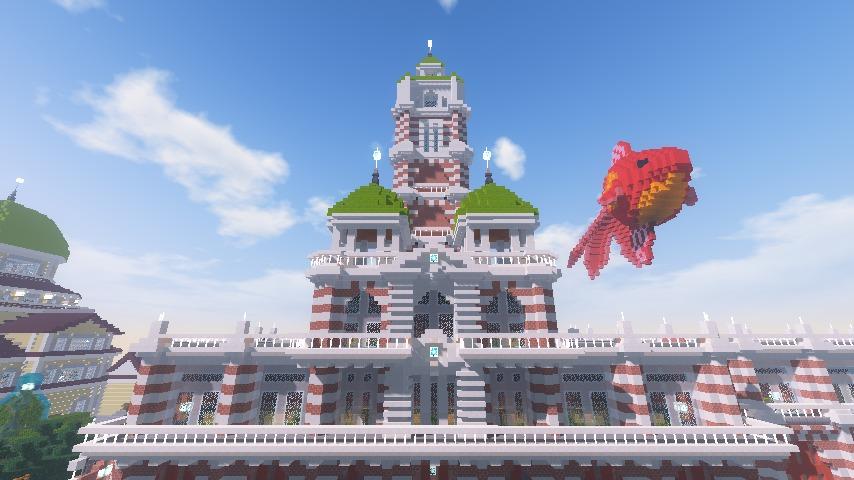 Minecrafterししゃもがマインクラフトでぷっこ村にCentral Fire Stationをモデルにした消防署を建築する3