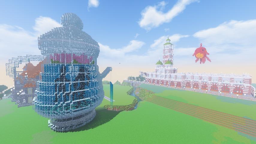 Minecrafterししゃもがマインクラフトでぷっこ村に新たな水源を設置する4