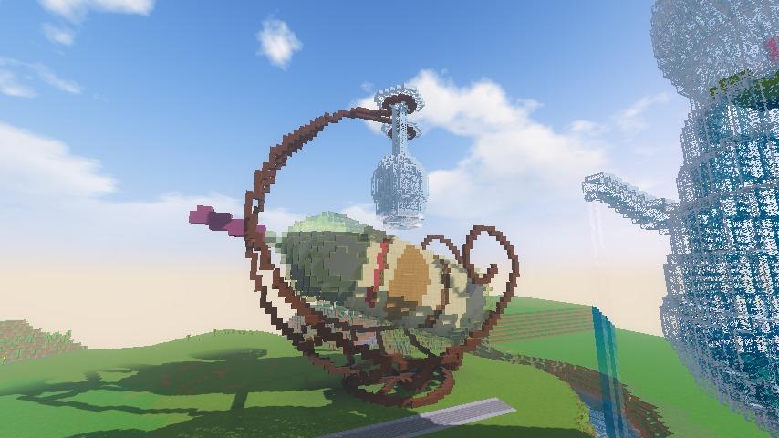Minecrafterししゃもがマインクラフトでぷっこ村にワインホルダー型オブジェを建築する1