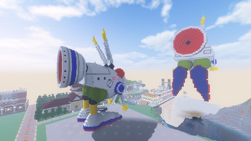 Minecrafterししゃもがマインクラフトでぷっこ村にロビットをモデルにした治安維持ロボットを作る8