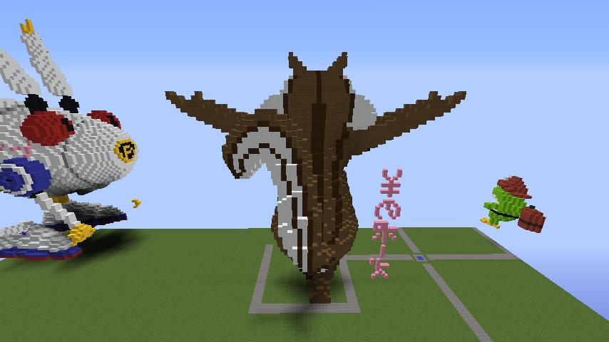 Minecrafterししゃもがマインクラフトでぷっこ村にお金の神様の像を建築する3
