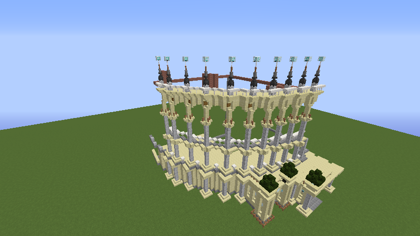 Minecrafterししゃもがマインクラフトでぷっこ村にトロカデロ宮殿をモデルにした博物館を建築する3