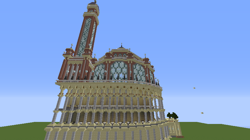 Minecrafterししゃもがマインクラフトでぷっこ村にトロカデロ宮殿をモデルにした博物館を建築する5
