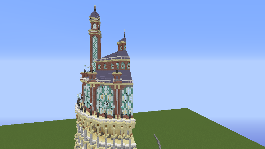 Minecrafterししゃもがマインクラフトでぷっこ村にトロカデロ宮殿をモデルにした博物館を建築する6