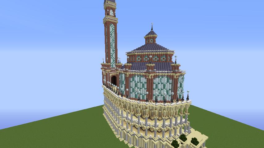 Minecrafterししゃもがマインクラフトでぷっこ村にトロカデロ宮殿をモデルにした博物館を建築する7