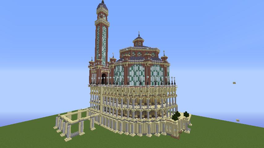 Minecrafterししゃもがマインクラフトでぷっこ村にトロカデロ宮殿をモデルにした博物館を建築する8