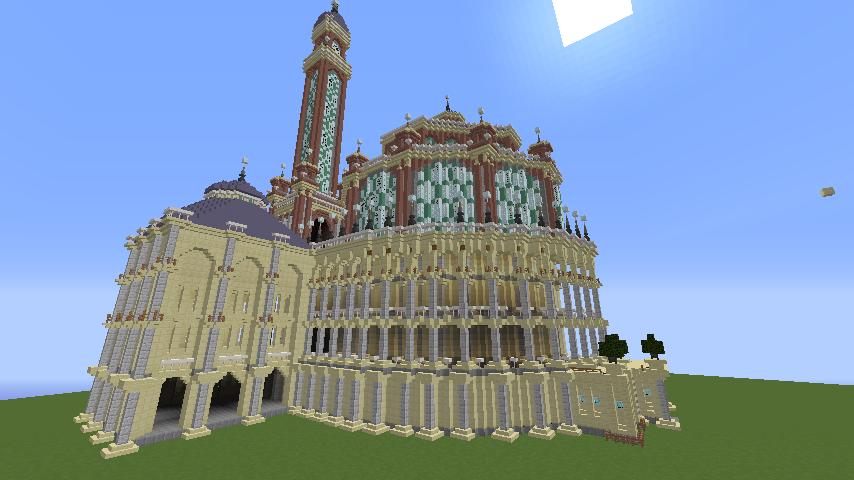 Minecrafterししゃもがマインクラフトでぷっこ村にトロカデロ宮殿をモデルにした博物館を建築する9