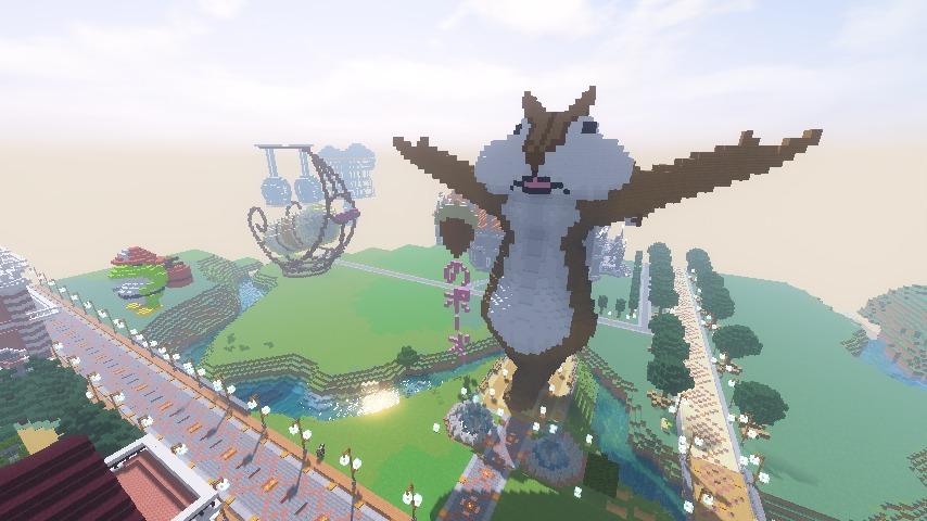 Minecrafterししゃもがマインクラフトでぷっこ村にお金の神様の像を建築する5
