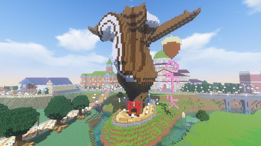 Minecrafterししゃもがマインクラフトでぷっこ村にお金の神様の像を建築する6