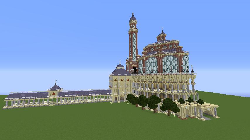 Minecrafterししゃもがマインクラフトでぷっこ村にトロカデロ宮殿をモデルにした博物館を建築する10