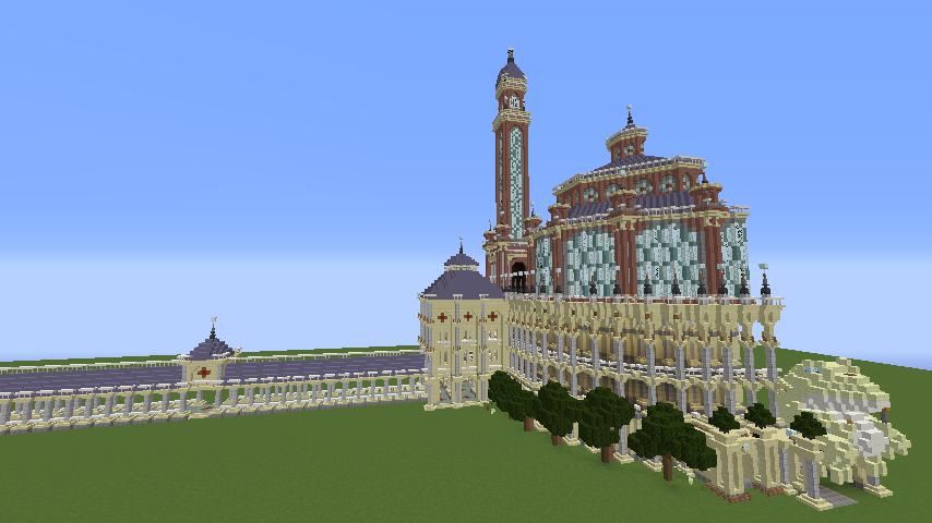 Minecrafterししゃもがマインクラフトでぷっこ村にトロカデロ宮殿をモデルにした博物館を建築する11