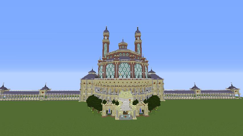 Minecrafterししゃもがマインクラフトでぷっこ村にトロカデロ宮殿をモデルにした博物館を建築する12