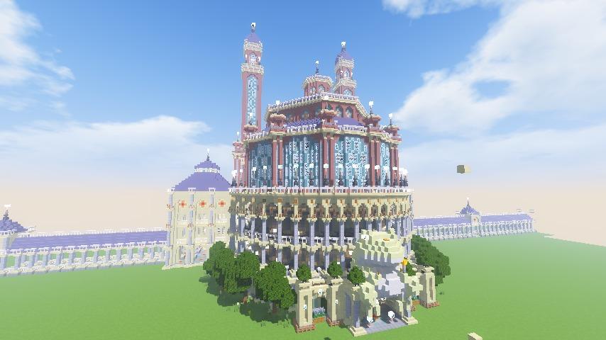 Minecrafterししゃもがマインクラフトでぷっこ村にトロカデロ宮殿をモデルにした博物館を建築する15