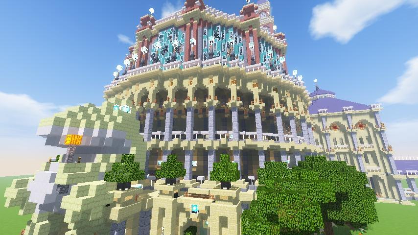 Minecrafterししゃもがマインクラフトでぷっこ村にトロカデロ宮殿をモデルにした博物館を建築する17