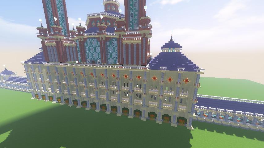 Minecrafterししゃもがマインクラフトでぷっこ村にトロカデロ宮殿をモデルにした博物館を建築する16
