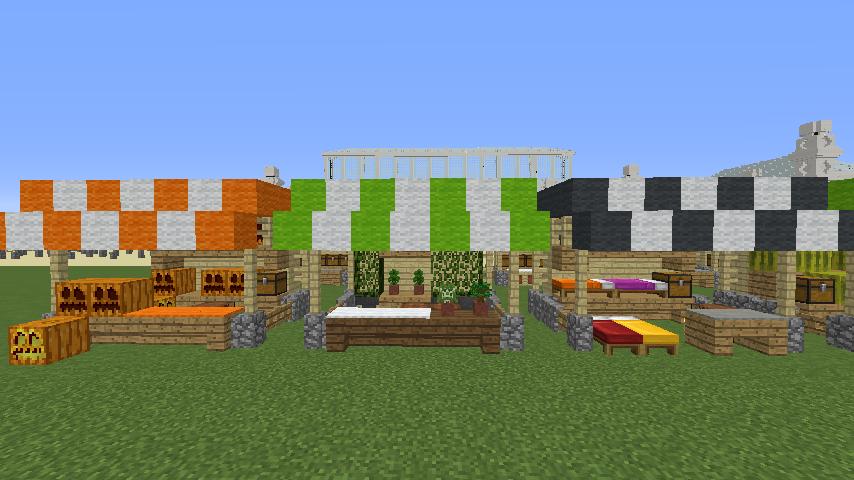 Minecrafterししゃもがマインクラフトでぷっこ村蚤の市の設営をお手伝いする7