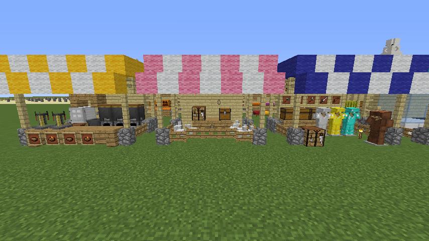 Minecrafterししゃもがマインクラフトでぷっこ村蚤の市の設営をお手伝いする9