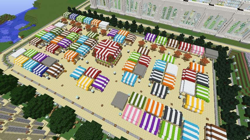 Minecrafterししゃもがマインクラフトでぷっこ村蚤の市の設営をお手伝いする1