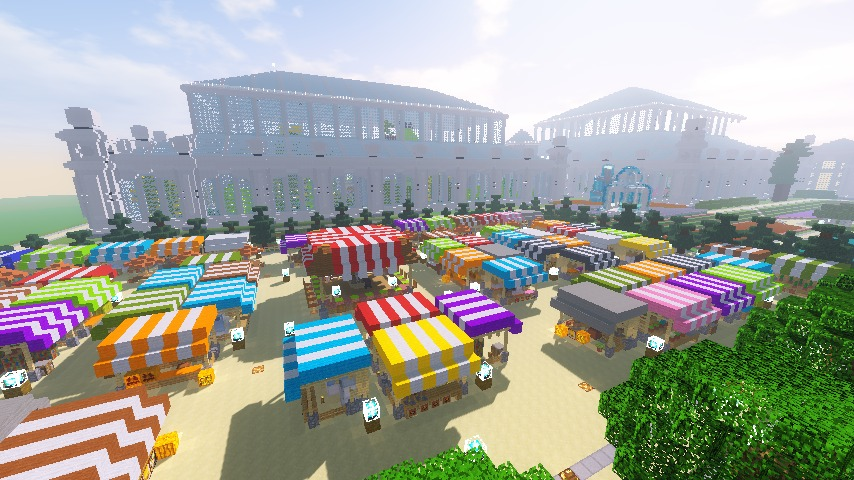 Minecrafterししゃもがマインクラフトでぷっこ村蚤の市の設営をお手伝いする6