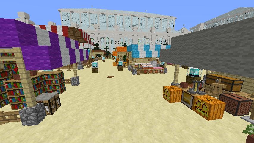 Minecrafterししゃもがマインクラフトでぷっこ村蚤の市の設営をお手伝いする2