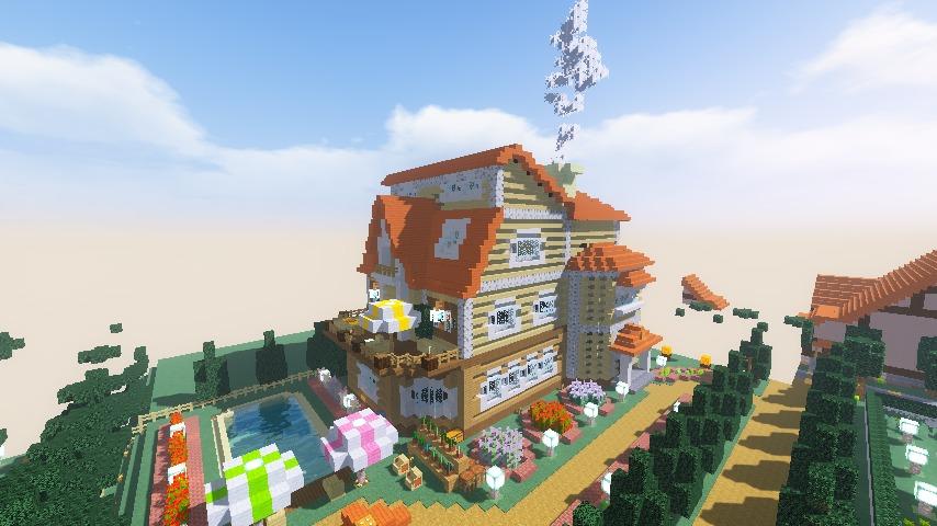 Minecrafterししゃもがマインクラフトでシルバニアファミリーの赤い屋根の大きなお家をつくる15